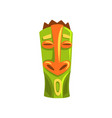tribal hawaiian tiki mask carved wooden statue vector image vector image