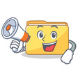 with megaphone folder character cartoon style vector image vector image