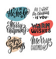 xmas hand drawn emblems set merry christmas vector image