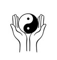 yin yang symbol with open hands vector image