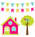 Cute house and tree set vector image