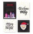 set of hand drawn christmas party and new year vector image