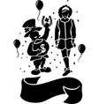 art with silhouettes of leprechaun and irish girl vector image vector image
