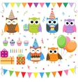 Birthday party owls set vector | Price: 1 Credit (USD $1)
