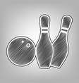 bowling sign pencil sketch vector image vector image