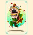 boy dancing lion dance vector image vector image