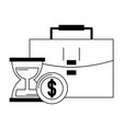 briefcase hourglass and coins in black and white vector image vector image