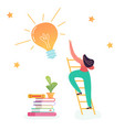 business woman climbing on ladder to light bulb vector image