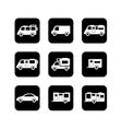 camper car black icons set vector image vector image