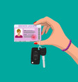 car driver woman license car keys in hand vector image