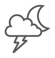 cloud and lightning line icon forecast and vector image vector image