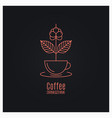 coffee cup logo coffee branch concept on black vector image vector image