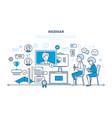 communications learning trainings webinars vector image vector image