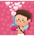 cute little cupid valentine day love potion pink vector image vector image