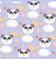 cute panda head with rattle and crown background vector image