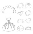 design of food and dish symbol set of food vector image vector image