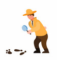 detective holding magnifier glass inspecting step vector image vector image