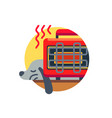 dog pet warms up near heater vector image vector image