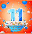 eleven years anniversary celebration vector image vector image