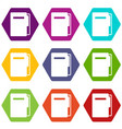 file folder icon set color hexahedron vector image vector image
