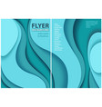 flyer paper cut style design with blue layers vector image vector image