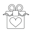 gift box with heart and bow outline vector image vector image