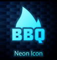 Glowing neon barbecue fire flame icon isolated on
