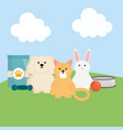 group mascots with food bag in field vector image