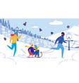 happy family with children winter outdoor activity vector image vector image