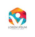 happy human logo design vector image