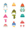 hats winter warm hats with scarf and with gloves vector image