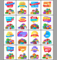 hot exclusive price labels posters with gift boxes vector image vector image