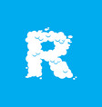 letter r cloud font symbol white alphabet sign on vector image