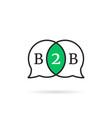 linear b2b speech bubble icon vector image vector image