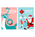 merry christmas greeting card set cartoon hand vector image vector image