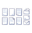 office documents and papers monochrome set vector image vector image