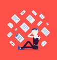 office worker and paperwork overload vector image vector image