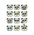 panda emoji faces with different emotions vector image