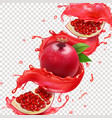 pomegranate red juice splash realistic vector image vector image