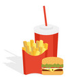 potatoes fries in a red carton box vector image vector image
