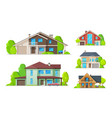 private houses residential real estate buildings vector image vector image