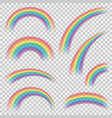 realistic colourful rainbows shapes or objects set vector image vector image
