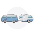 retro van with camper trailer - vintage minibus vector image