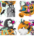 seamless pattern with cute halloween creatures vector image vector image
