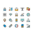set 5g internet color line icons network vector image