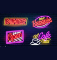 set fashion neon sign night bright signboard vector image vector image
