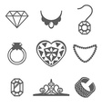 set jewelry icons ring gem necklace vector image