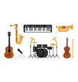set music instruments piano drum guitar mic vector image