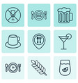 set of 9 meal icons includes cocktail fresh vector image vector image
