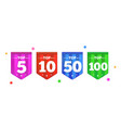 set of bright colorful stickers top 100 5 10 50 vector image vector image